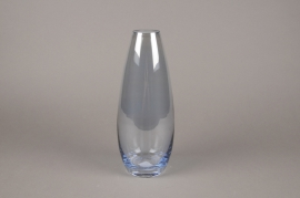 A017W3 Vase en verre obus bleu D13cm H30cm