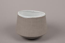 A017W5 Cache-pot en grès gris D20cm H16cm