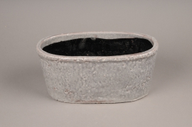 A017W6 Grey ceramic planter 30x15cm H14cm