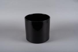 A018A8 Black ceramic planter D28cm H25.5cm