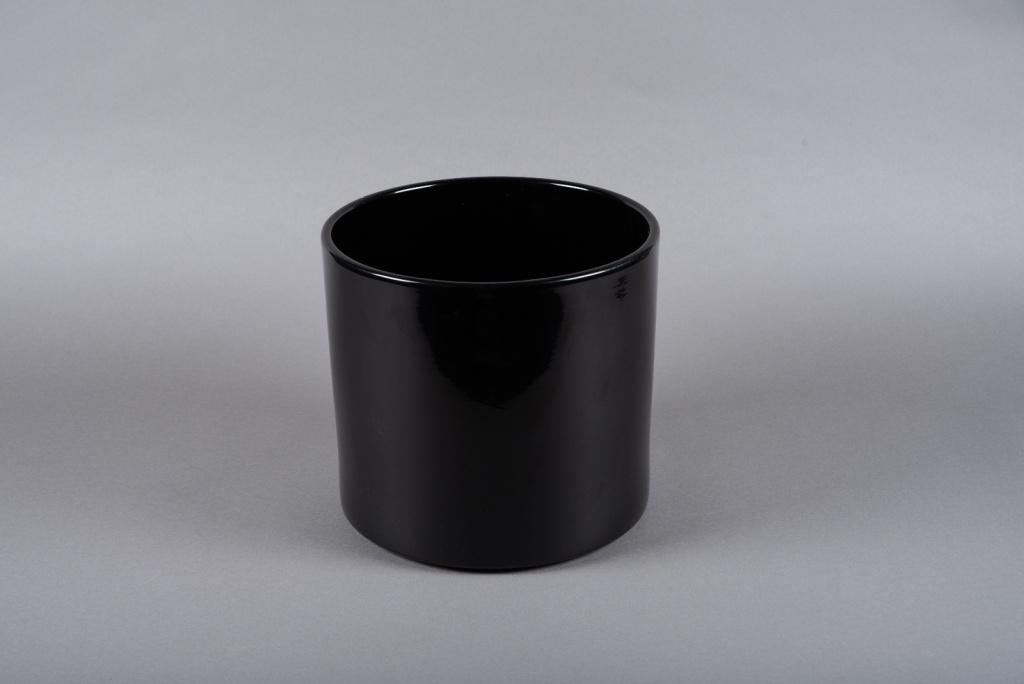 A018A8 Cache-pot en céramique noir D28cm H25.5cm