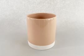 A018AA Cache-pot en céramique rose nude D11cm H11.5cm