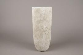 A018AC Vase en béton feuillage blanc D14cm H34cm