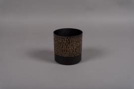 A018E5 Black metal vase D13cm H13.5cm