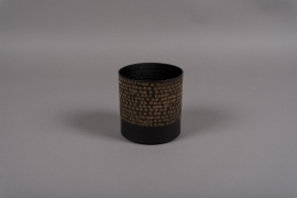 A018E5 Pot en métal noir D13cm H13.5cm