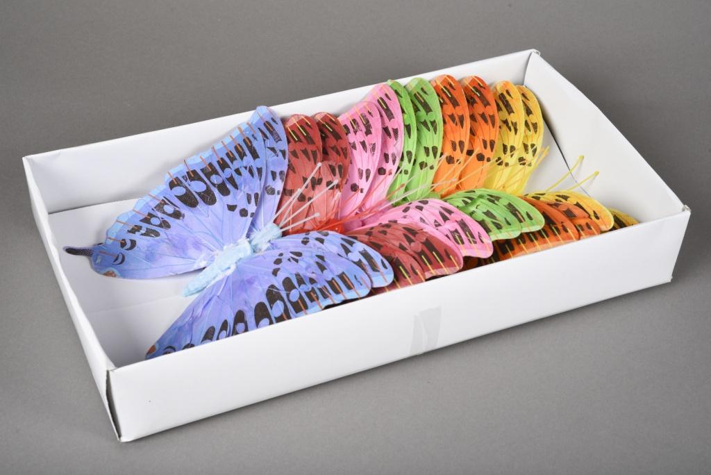 A018E9 Boîte de 12 pics papillons en plume D18cm
