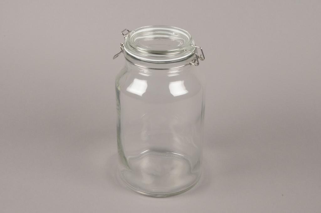 A018H9 Bocal en verre avec couvercle D16cm H28cm