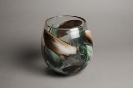 A018IH Glass vase D18cm H20cm