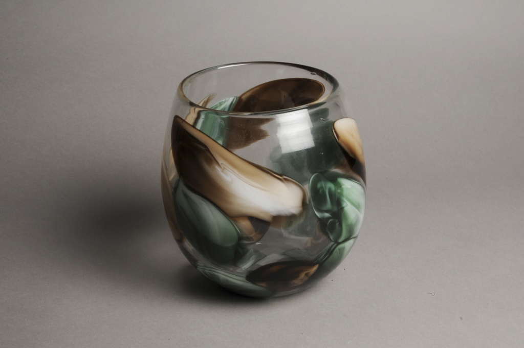 A018IH Vase en verre obus déco D18cm H20cm
