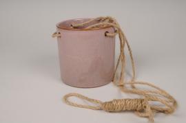 A018J6 Cache-pot céramique à suspendre rose D13cm H13cm