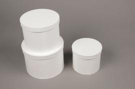 A018K1 Set de 3 boîtes en carton blanc D18cm H13cm