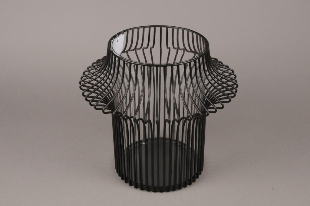 A018KU Photophore en métal noir D33cm H31cm