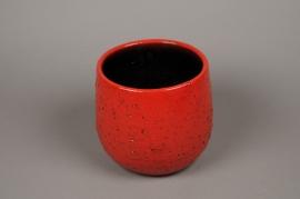A018LE Cache-pot céramique rouge D21cm H20.5cm