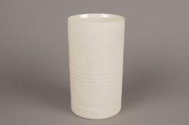 A018N8 White terracotta vase D11cm H22cm