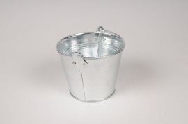 A018NH Bucket zinc natural D11cm H9cm