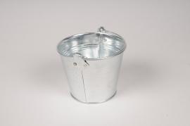 A018NH Seau en zinc naturel D11cm H9cm