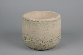 A018U7 Cache-pot en béton taupe D19cm H16cm