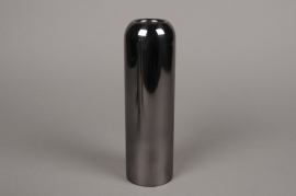 A018W0 Black metal candle holder D7.5cm H25cm