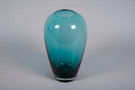A018W3 Vase en verre obus bleu D17cm H30cm