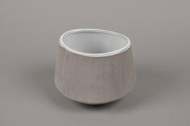 A018W5 Cache-pot en grès gris D18cm H13cm
