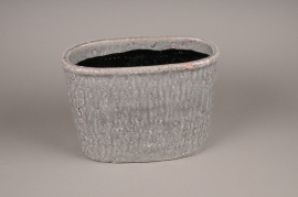 A018W6 Grey ceramic planter 32x18cm H23cm