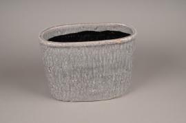 A018W6 Jardinière en céramique gris 32x18cm H23cm