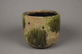 A018ZH Cache-pot en céramique vert D23cm H27cm