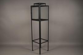 A018ZV Glass and black metal lantern H130cm