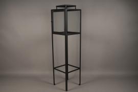A018ZV Lanterne en verre et métal noir sur pied H130cm