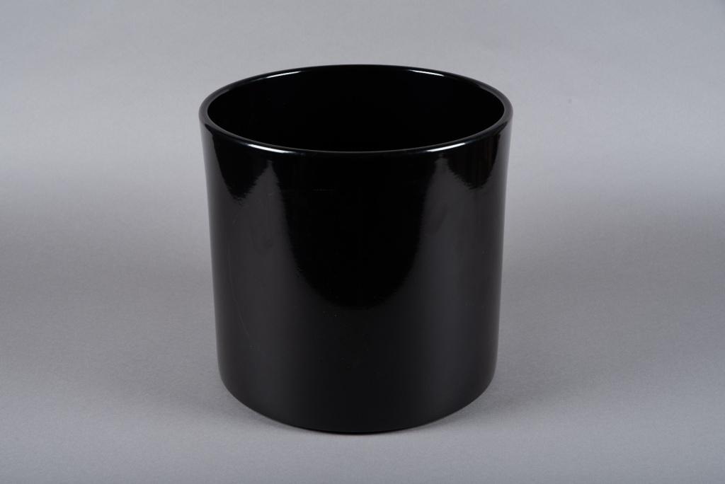 A019A8 Black ceramic planter D32cm H31cm