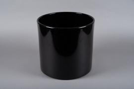 A019A8 Cache-pot en céramique noir D32cm H31cm