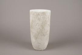 A019AC Vase en béton feuillage blanc D14cm H29cm
