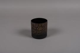 A019E5 Pot en métal noir D12cm H12.5cm