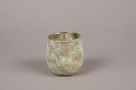 A019G2 Oxidized bronze glass candle jar D10cm H10cm