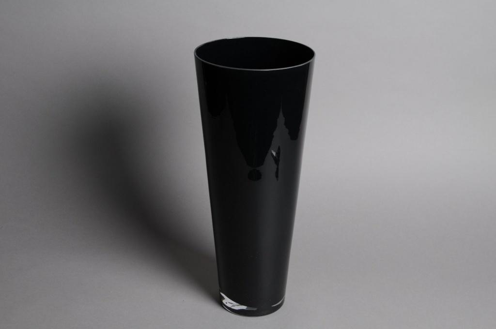 A019I0 Vase en verre conique noir D18cm H43cm
