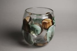 A019IH Vase en verre obus déco D22cm H23.5cm