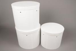 A019K1 Set de 3 boîtes en carton blanc D27cm H27.5cm