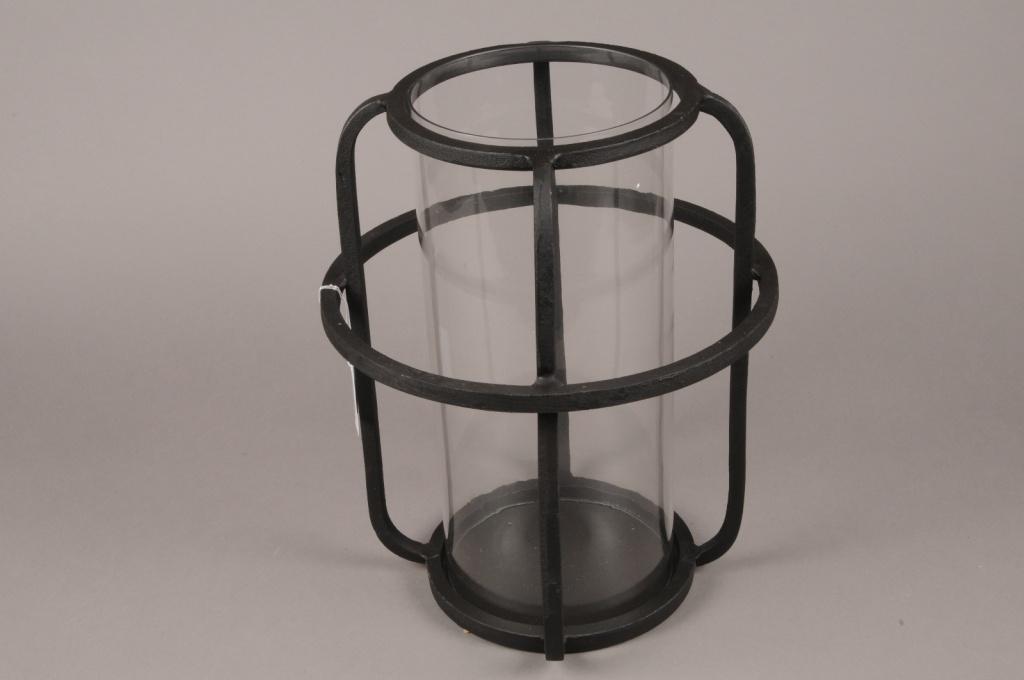 A019KU Black metal light holder D30cm H37cm
