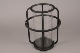 A019KU Photophore en métal noir D30cm H37cm