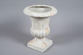 A019N9 Vase Médicis en fibre patiné gris clair D36cm H47cm