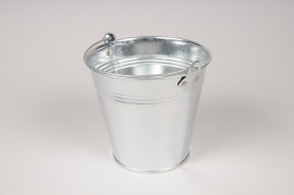 A019NH Bucket zinc natural D13cm H12cm
