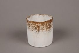 A019OZ Cache-pot en céramique blanc D11cm H11cm