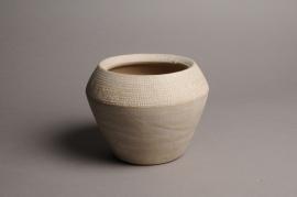 A019T3 Cache-pot céramique évasé blanc D17cm H14cm