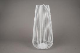 A019UO Photophore en métal blanc D20cm H36cm
