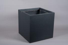 A019VV Black fiberglass planter 50cm x 50cm H50cm