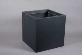A019VV Jardinière en fibre noir 50cm x 50cm H50cm