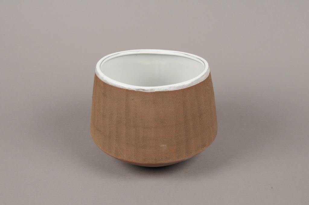 A019W5 Cache-pot en grès taupe D18cm H13cm
