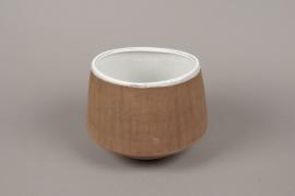 A019W5 Brown stoneware vase D18cm H13cm