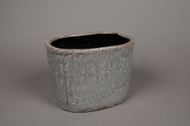 A019W6 Grey ceramic planter 23,5 x 16cm H17cm