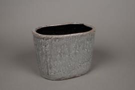 A019W6 Jardinière en céramique gris 23,5 x 16cm H17,5cm